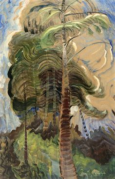 Forest Interior - Emily Carr - The Athenaeum Canadian Painters, Canadian Artists, Totems, Matisse, Emily Carr Paintings, Group Of Seven Paintings, Landscape Art, Landscape Paintings, Art Chinois