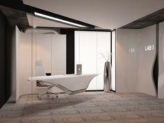 Reception Area - Genetic laboratory by Yovo Bozhinovski, via Behance