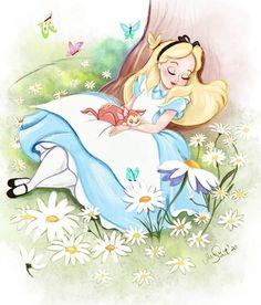 in a world of my own ∞ Film Disney, Arte Disney, Disney Art, Disney Drawings Sketches, Disney Princess Drawings, New Disney Princesses, Mad Hatter Party, Princess Alice, Princess Pictures