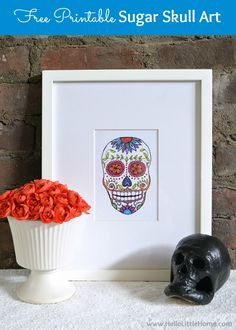 This colorful DIY Sugar Skull Banner is an easy way to decorate for Day of the Dead! A simple DIY sugar skull decor idea for Dia de los Muertos.