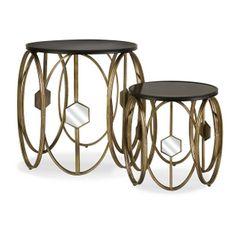 【纽约下城公园】新古典镜面金属造型茶几/边桌(一套两个)-淘宝网