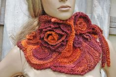 Crochet Scarf Freeform Roses Capelet Neck Warmer by Degra2