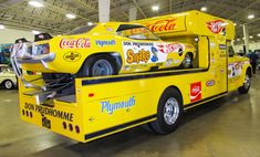 "rollinmetalart: ""The Hot Wheels race cars and haulers of Don ""The Snake"" Prudhomme and Tom ""The Mongoose"" McEwen. All four restored to their original glory. Goodguys Del Mar Nationals, Del Mar, CA. Coca Cola, Nhra Drag Racing, Nascar Racing, Funny Car Drag Racing, Funny Cars, Don Prudhomme, Snake And Mongoose, Plymouth Cars, Car Carrier"