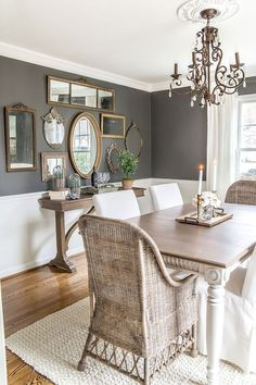A couple of tricks for hanging the perfect mirror gallery wall plus ideas for a traditional meets modern eclectic dining room. A couple of tricks for hanging the perfect mirror gallery wall plus ideas for a traditional meets modern eclectic dining room. Dining Room Wall Decor, Dining Room Design, Dining Room Mirror Wall, Wall Of Mirrors, Dinning Room Colors, Dining Room Paint, Dining Nook, Design Room, Dining Room Sets