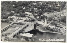 likely in this aerial photo . My how things have changed in Fenelon Falls . yet you can still spot familiar landmarks which still stand today. Picture Postcards, Still Standing, Historical Pictures, Ontario, Paris Skyline, Canada, History, City, Travel