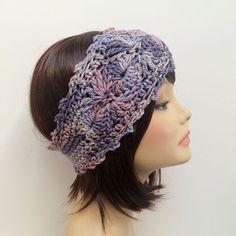 "FREE SHIPPING - Crochet Ear Warmer Headband - Purple, Lavender, Pink, Light purple Coupon code ""Pin10"" saves you 10%! #christmas #gift #giftguide #giftsforher #crochet #etsy #yarn"