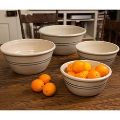 These days, it's a tall order to find high-quality pottery crafted here in the USA. These bowls will last a lifetime and become family heirlooms to pass down from generation to generation - and that's the kind of quality that can't be bought in a big department store.        Set of four bowls: 10, 12, 14 16 OD.      Hand-turned in Texas      Traditional, antique-store look and feel, but they're made for modern kitchens      Lead-free      Microwave, oven and dishwasher safe ...