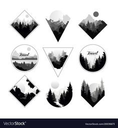 Set of monochrome landscapes in geometric shapes Vector ImageYou can find Shape design and more on our website.Set of monochrome landscapes in geometric shapes Vector Image Geometric Nature, Geometric Logo, Geometric Shapes, Geometric Tattoo Forest, Geometric Shape Tattoo, Geometric Drawing, Geometric Sleeve, Geometric Designs, Form Tattoo