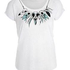 """T-shirt halloween """"collier de tête de corbeau"""" pour femme s à xl"""