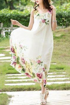 Stylish Scoop Neck Sleeveless Floral Print Chiffon Dress For Women