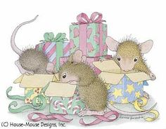 """""""Mudpie, Muzzy and Amanda"""" from House-Mouse Designs®.  featured on the The Daily Squeek® for December 1st, 2012. Click on the image to see it on a bunch of really """"Mice"""" products."""