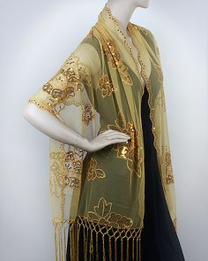 This Gold Embellished Flowery Evening Wrap is a classy & elegant evening wrap with artistic embellishment and radiant beauty. This Fashionable Discounted Women's Evening Shawl Wrap on Sale feels light and looks amazing.