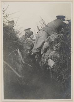 WWI, Elisabeth, Queen of Belgium, in a trench.