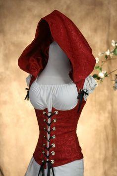 A corset with a hood and it's red *sigh* I'm in heaven.