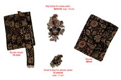 """Kalamkari set consisting of """"Saree border, Blouse and motifs for applique"""" best suitable to match any sarees like kota, supernet, Chenderi... make you feel design as you like Retail Price: 350/- ( bulk buyers / wholesale / boutiques / Retail shops for trade inquiries please contact our whatsapp no 8801302000)"""