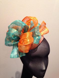 New dyed Scintilla Silk Abaca on stretch cobweb lace hat by Lily M Hats