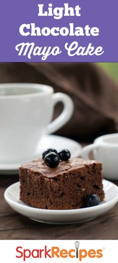 This delicious, light and healthy chocolate cake is very moist and made with mayo instead of added eggs or oil. Don't worry, you won't taste the mayo and everyone will be raving about this chocolate treat!