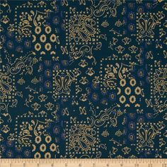 Santa Fe Arroyo Bandana Navy from Designed by DeLeon Design Group for Alexander Henry, this cotton print is perfect for quilting, apparel and home decor accents. Colors include navy, sand and blue. Alexander Henry, Santa Fe, Be Perfect, Bandana, Fabric Design, City Photo, Quilts, Navy, Fabrics