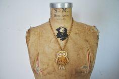 1970s OWL Necklace / Gold Rhinestone by badbabyvintage on Etsy