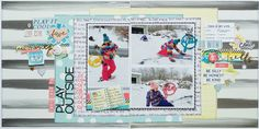 https://flic.kr/p/DtaUnZ | Play Outside double layout by Tracy Banks, using the Scraptastic Club Just A Girl Kit and Add-on