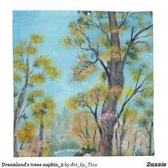 Dreamland's trees napkin_2 #Napkin #decoupage #idea #supply #furniture #art #acrylic #original #craft #diy #table #hotel #decoration #décor #cafe #restaurant #artcafe #artrestaurant #arthotel #landscape #nature #dining #diner #lunch #zazzle