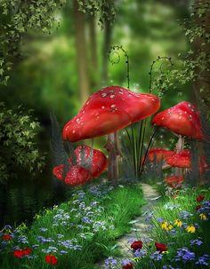 mushroom fantasy mystical fairy garden