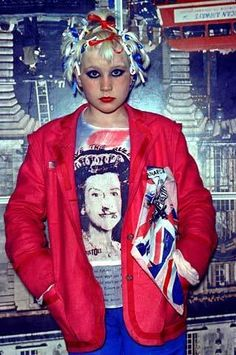 Debby Juvenile in a Viv Westwood outfit at Seditionaries, Westwood & McLaren's shop on the King's Rd., London, 1977.