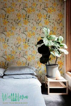 Yellow Daffodil Pattern Wallpaper   Removable Wallpaper   Daffodil Wallpaper   Daffodil Wall Sticker   Yellow Daffodil Adhesive Wallpaper