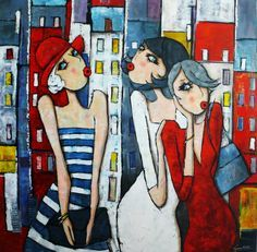 Virginie Matz Plus Pop Art, Art Fantaisiste, Naive Art, Whimsical Art, Art Design, Figure Painting, Female Art, Art Lessons, Art Girl