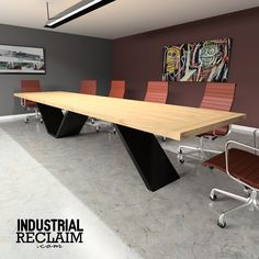 Custom Cantilevered Conference Table - Modern Minimal - Steel & Wood