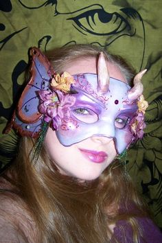 Myself, the mask-creator, modelling the Amethyst Fairy mask.  Mask currently for sale, https://www.etsy.com/listing/108534411/the-amethyst-fairy