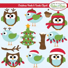 owls clipart christmas digital clip art birds woodland - Christmas Hoots and Tweets Clipart