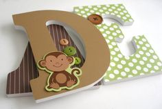 Monkey Custom Wooden Letters, Personalized Nursery Name Décor, Boy Jungle Safari Bedroom, Wood Wall Decorations, Birthday Baby Shower Gift on Etsy, US$25,00