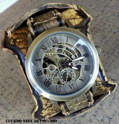 Leather Cuff, Watch Cuff, Men's Leather Watch, Vintage style Wrist Watch,  Bracelet watch, Vintage Brown Leather Strap, Steampunk