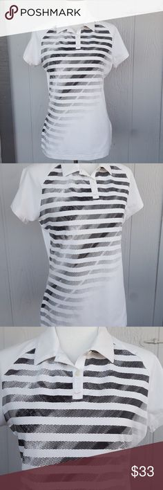 Nike White Black Striped Polo Short Sleeve Shirt Nike workout shirt in great shape. Nike golf but can also be used for many athletic sports such as tennis. Comfy and stretchy. Nike dri-fit shirt. Front has buttons. Polyester and spandex. Nike Tops Tees - Short Sleeve