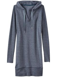 The cozy French terry dress with rib-knit sleeves sure to be the go-to post-gym coverup for hoodie lovers everywhere.