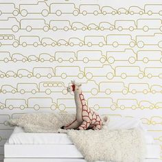 Gold Traffic Jam Wallpaper - This chic and modern wallpaper is the perfect accent for any nursery or playroom. Wallpaper Jam, Graphic Wallpaper, Nursery Wallpaper, Wallpaper Samples, Wallpaper Ideas, Wallpaper Designs, Modern Wallpaper, Print Wallpaper, Gold Metallic Wallpaper