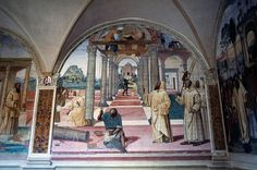 Benedict watching over construction of twelve monasteries, from Stories of St Benedict of Monte Oliveto Maggiore, 1505, by Giovanni Antonio Bazzi known as Il Sodoma, cloister of Abbey of Monte Oliveto Maggiore, Asciano, Tuscany, Italy, 16th century