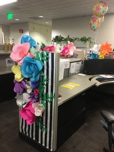 Cublicle Paper Flower Decor Office Birthday Decorations Christmas Cubicle Work