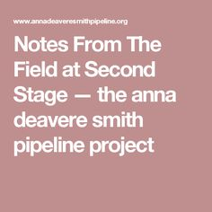Notes From The Field at Second Stage — the anna deavere smith pipeline project