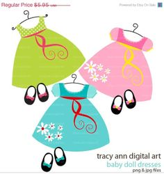 SALE 40 OFF Clip Art  Baby Doll dress and by TracyAnnDigitalArt, $3.57