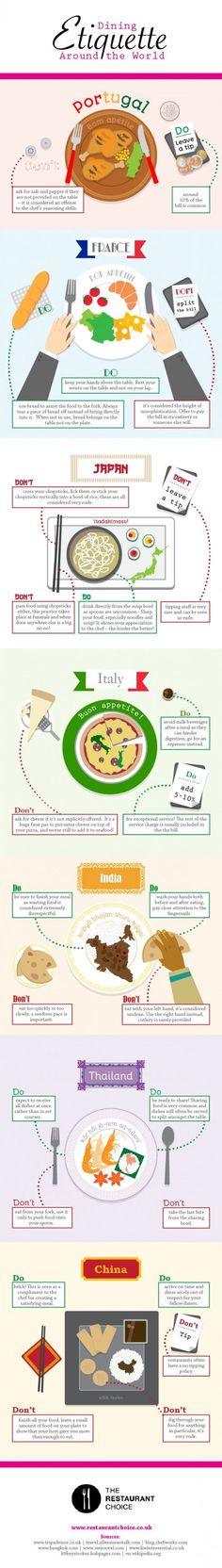 Make a good impression by learning dining etiquette from around the world #infographic #traveltips #infografía