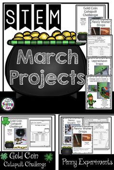 March STEM Challenges is a packet of five experiments or challenges your students will love! Students plan, design, engineer, and collect data as they are having fun before St. Patrick's Day!  Includes:  Teacher Page  ♣Challenge 1: Gold Coin Catapult Challenge  ♣Challenge 2: Penny Towers ♣Challenge 3: Penny Water Drops ♣Challenge 4: Create a Leprechaun Trap  ♣Challenge 5: Create a Leprechaun House