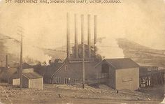 Independence-Mine-Showing-Main-Shaft-Victor-CO-Colorado-Mining-Postcard-1915
