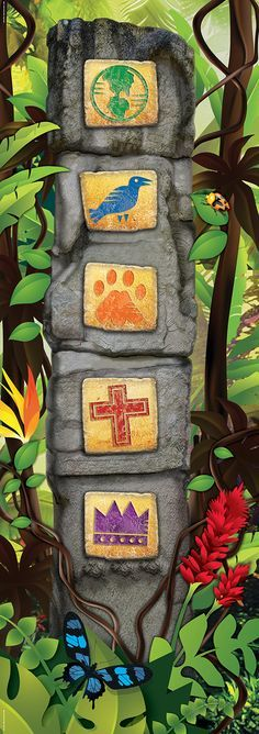 Giant Ancient Pillars with the symbols of the days Jungle Party, Safari Party, Safari Theme, Jungle Safari, Jungle Theme, Jungle Jam, Vbs Crafts, Crafts For Kids, Cave Quest Vbs