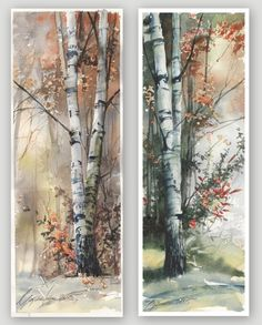Watercolor Trees, Watercolor Landscape, Watercolour Painting, Landscape Paintings, Painting Trees, Acrylic Artwork, Abstract Canvas Art, Heaven Art, Birch Tree Art