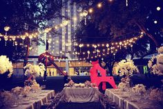 Love these lights - Twinkle lights in the Nasher Garden accented with custom crystal, gray linens and orchids during the Scheble-Flory wedding reception in 2011