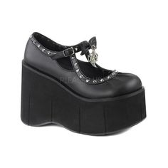 Women's Demonia Kera 14 Mary Jane (£51) ❤ liked on Polyvore featuring shoes, flats, casual, mary janes, wedges shoes, black studded flats, black mary janes, black high heel shoes and platform mary janes