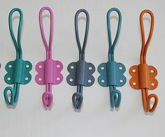 Left to right: turquoise, pink (sorry n/a), pigeon blue (sorry n/a), soft blue, burnt orange