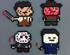 Horror Movie Heavy Hitters Perler Bead Magnet Characters Set - Leatherface, Freddy Kruger, Jason, Michael Myers - hama beads Texas Chainsaw